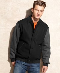 Buffalo David Bitton Jacket Varsity Wool Blend Bomber With Contrast Sleeves Charcoal