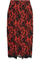 Preen Roos Gingham Cotton Blend And Lace Midi Skirt Red