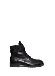 Ann Demeulemeester Ankle Strap Leather Boots Black
