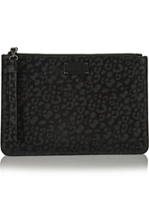 Maje Coated Suede Clutch Black