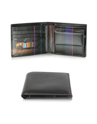 Paul Smith Black Leather Mini Graphic Edge Print Interior Billfold W Coin Pocket Men's Wallet