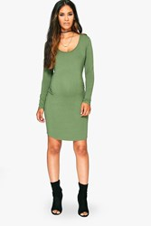 Boohoo Lucy Scoop Neck Long Sleeve Bodycon Khaki