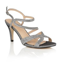 Lotus Hibiscus Diamante Open Toe Sandals Pewter