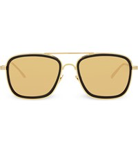 Linda Farrow Lfl237 Square Aviator Sunglasses Black And Yellow Gold