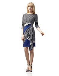 Muse Houndstooth Draped Ruffle Dress Blue Grey