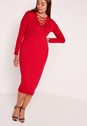 Missguided Plus Size Lace Up Dress Red Red