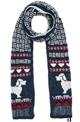Thom Browne Cable Funmix Scarf In Red White Blue Red White Blue