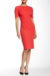 Zac Posen Ariel Short Sleeve Sheath Dress Red