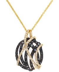 Effy Collection Caviar Effy Black 3 4 Ct. T.W. And White 1 5 Ct. T.W. Diamond Crossover Pendant Necklace In 14K Gold