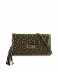 Valentino By Mario Valentino Lena D Quilted Leather Clutch Bag Army Green
