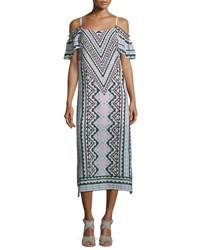 Nanette Lepore Cold Shoulder Chevron Midi Dress Natural Multi Natural Multi