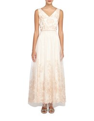 Tahari By Arthur S. Levine Floral Embroidery Mesh Gown Ballet Pink