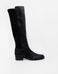 Shoesissima Runaway Stretch Flat Knee High Boots 'Available From Uk 8 12' Black