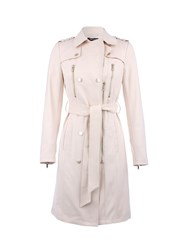 Morgan Leather Look Buttoned Cotton Trench Coat Beige