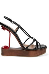 Alaia Vernis Embellished Cutout Patent Leather Sandals Black