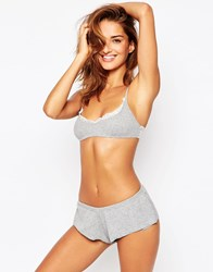 Asos Britney Lace Trim Crop And French Knicker Grey Marl