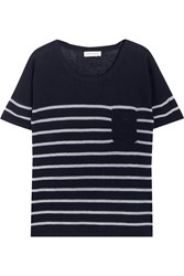 Chinti And Parker Striped Cashmere Top Navy