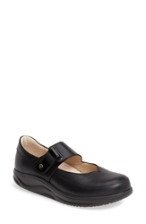 Finn Comfort Leather Mary Jane Women Black