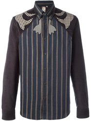 Antonio Marras Patchwork Corduroy Shirt Blue