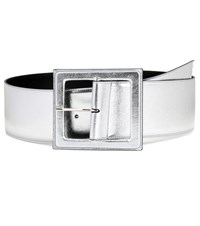 Saint Laurent Metallic Leather Belt Silver