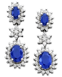Effy Collection Royalty Inspired By Effy Sapphire 2 1 2 Ct. T.W. And Diamond 9 10 Ct. T.W. Earrings In 14K White Gold Blue