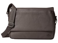 Lacoste Rafael Leather Messenger Bag Chocolate Brown Messenger Bags