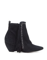 Matisse Sissy Suede Fringed Wedge Ankle Boots Black