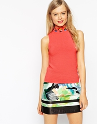 Asos Knitted Tank With Turtle Neck And Embellishment Coral
