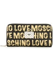 Love Moschino Logo Print Zip Around Wallet Black