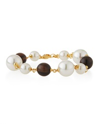 Majorica Wooden Bead And Organic Pearl Bracelet