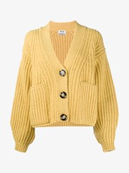 Acne Studios Hadlee Wool Mohair Blend Cardigan Yellow Soft Yellow White Green
