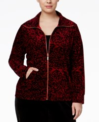 Karen Scott Plus Size Animal Print Velour Jacket Only At Macy's Prussian Red