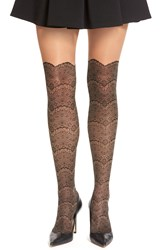 Via Spiga 'Noir' Lace Faux Over The Knee Tights Black