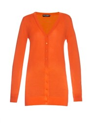 Dolce And Gabbana Long Sleeved Cashmere Cardigan Orange