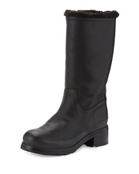 Hunter Original Shearling Lined Leather Mid Calf Boot Black
