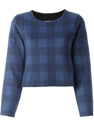Maison Martin Margiela Mm6 Cropped Check Jumper Blue