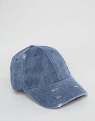 Asos Distressed Baseball Cap In Navy Navy