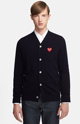 Comme Des Garcons 'Play' Wool Cardigan With Heart Applique Navy