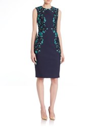 Lela Rose Embroidered Tulle Sheath Dress Blue Green