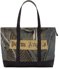 Palm Angels Green Canvas Banana Leaves Tote