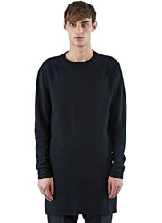 Rick Owens Long Cashmere Crew Neck Sweater Black