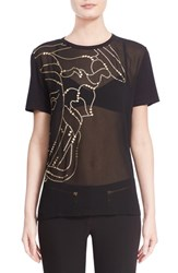 Women's Versace Half Medusa Golden Foil Embellished Sheer Tee