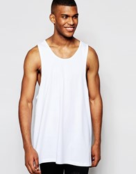 Asos Oversized Longline Vest With Extreme Racer Back White