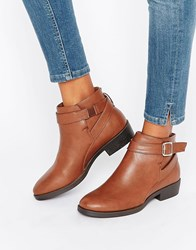 New Look Buckle Flat Ankle Boot Tan