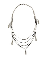 Greenbeads By Emily And Ashley Crystal Fringe Necklace Black Silvertone
