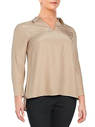 Lafayette 148 New York Plus Size Ollie Silk Blouse Umber