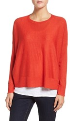 Eileen Fisher Petite Women's Ballet Neck Boxy High Low Pullover Poppy