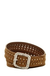 John Varvatos Perforated Nail Studded Suede Belt Brown