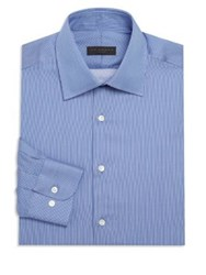 Ike Behar Striped Cotton Dress Shirt Blue