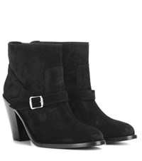 Saint Laurent New Western 80 Suede Ankle Boots Black